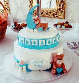 tortas krikštynoms, meškiukas, kudikis, batukai, angelai