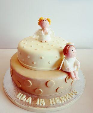 tortas krikštynoms, lelytė, kudikis, batukai, angelai