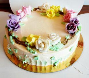 tortas proginis, gėlės